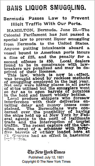 1921 Bermuda liquor ban to USA