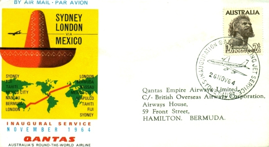 1964 Quantas to Bermuda first day cover