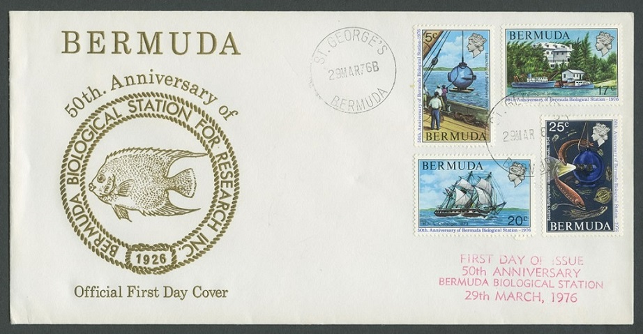 stamp for 50th anniversary of Bermuda Biological Station