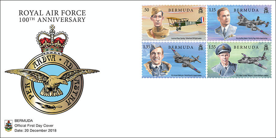 2018 Bermuda Royal Air Force stamps showing Bermudian pilots