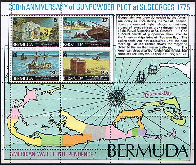 200th anniversary stamp of Bermuda Gunpowder Plot