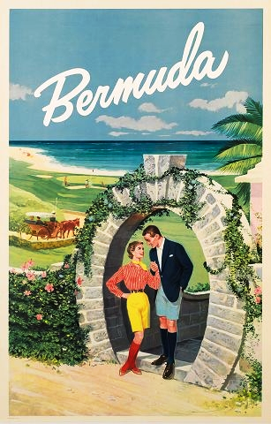 Bermuda Shorts for a man and woman, 1950s tourism poster