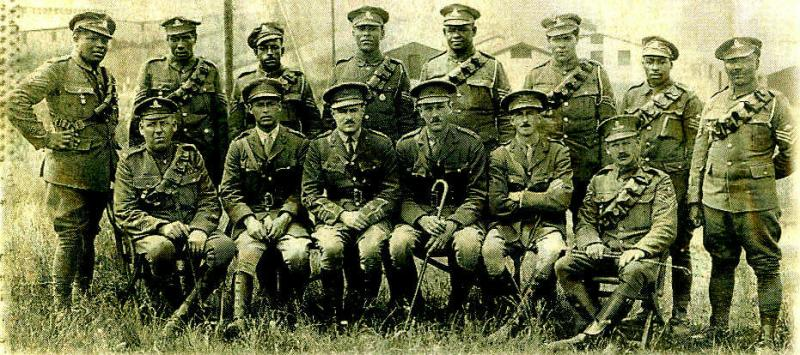 Officers and NCOs of Bermuda Contingent, Royal Garrison Artillery sent to France in World War 1