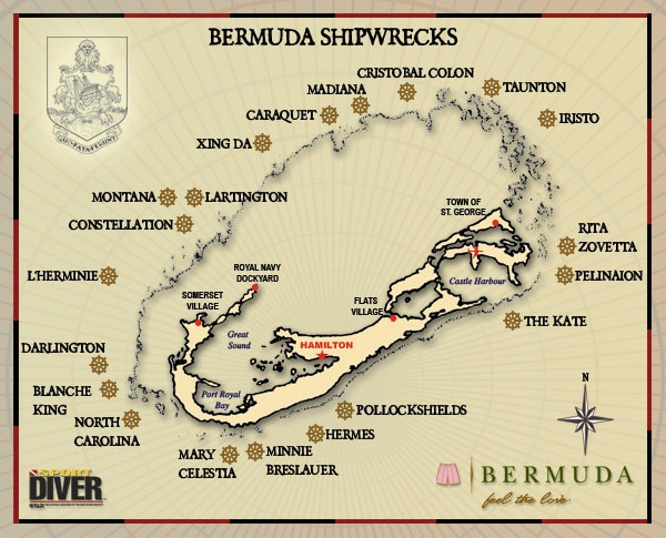 Bermuda shipwrecks map