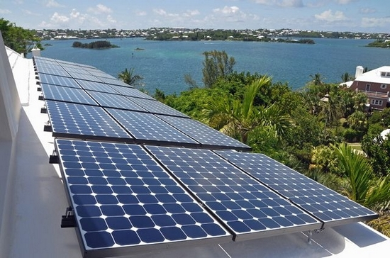 Imported solar panels on a Bermuda roof