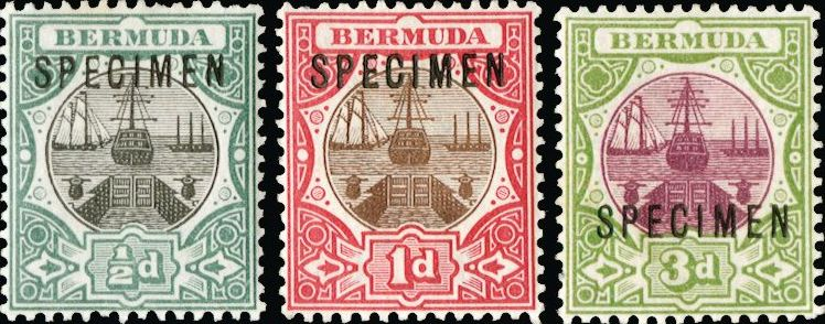 Bermuda stamps 1902 set of three