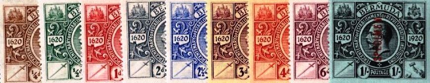 1921 Bermuda postage stamps