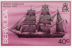 Bermuda postage stamp of wreck of North Carolina