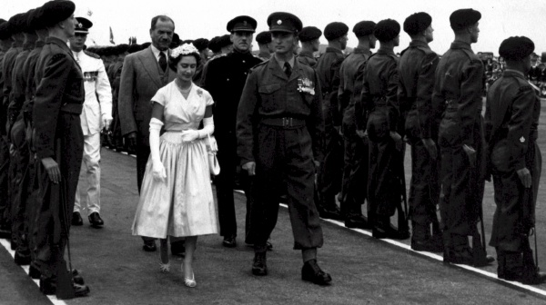Princess Margaret reviewing the DCLI in Bermuda