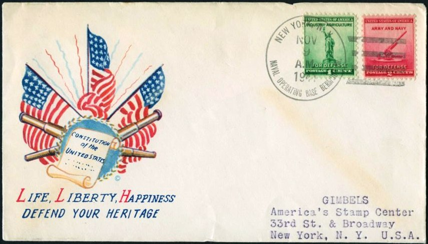 First mail sent home from Bermuda 1941 by US Marines