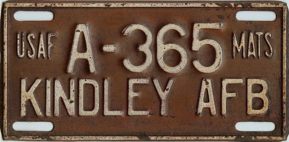 Kindley Air Force Base MATS automobile license plate