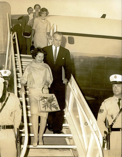 Lyndon B Johnson arriving in Bermuda