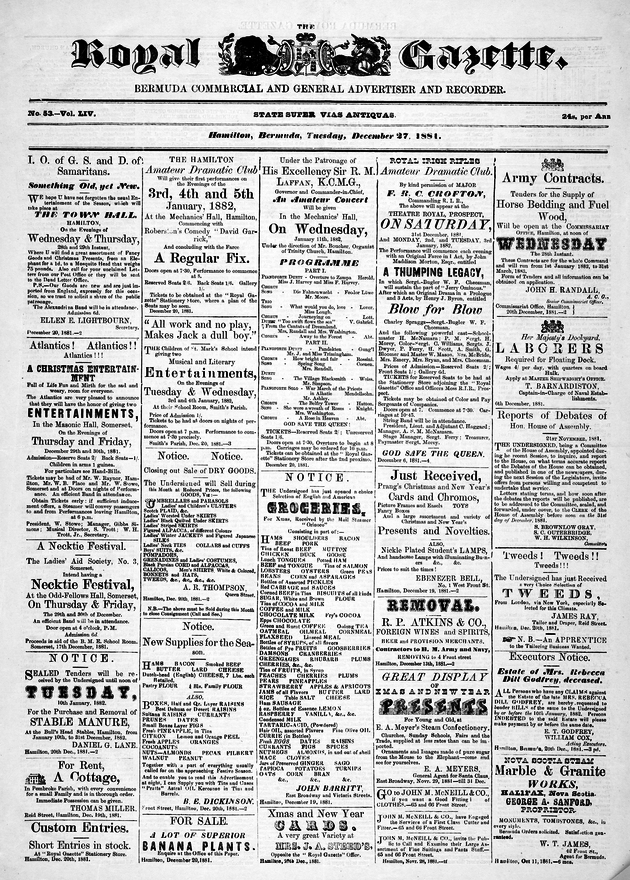 Royal Gazette December 27, 1881
