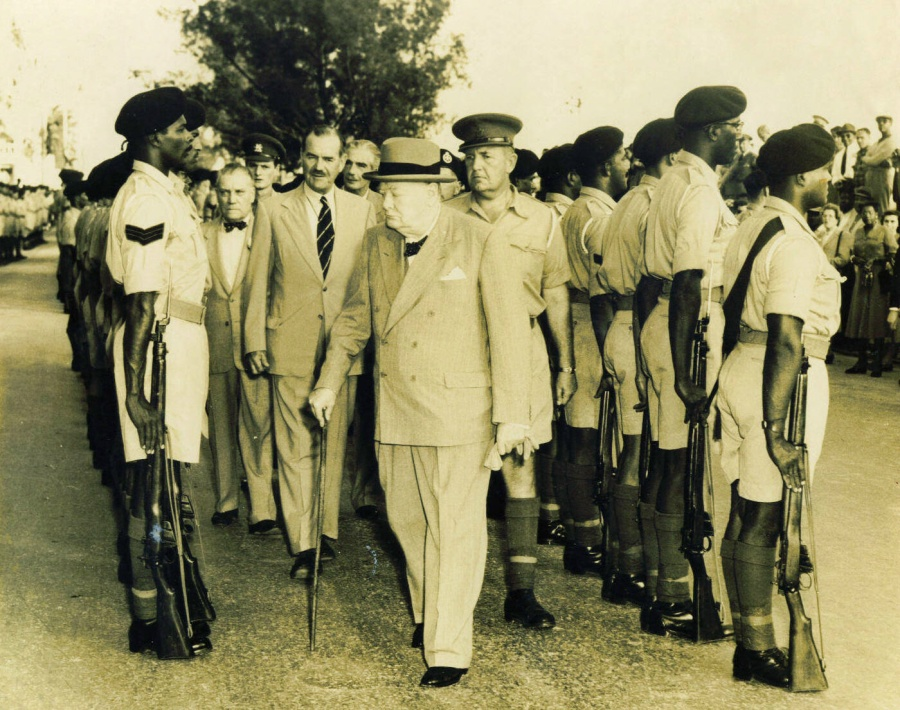 Churchill inspecting Bermuda defence forces, BMA