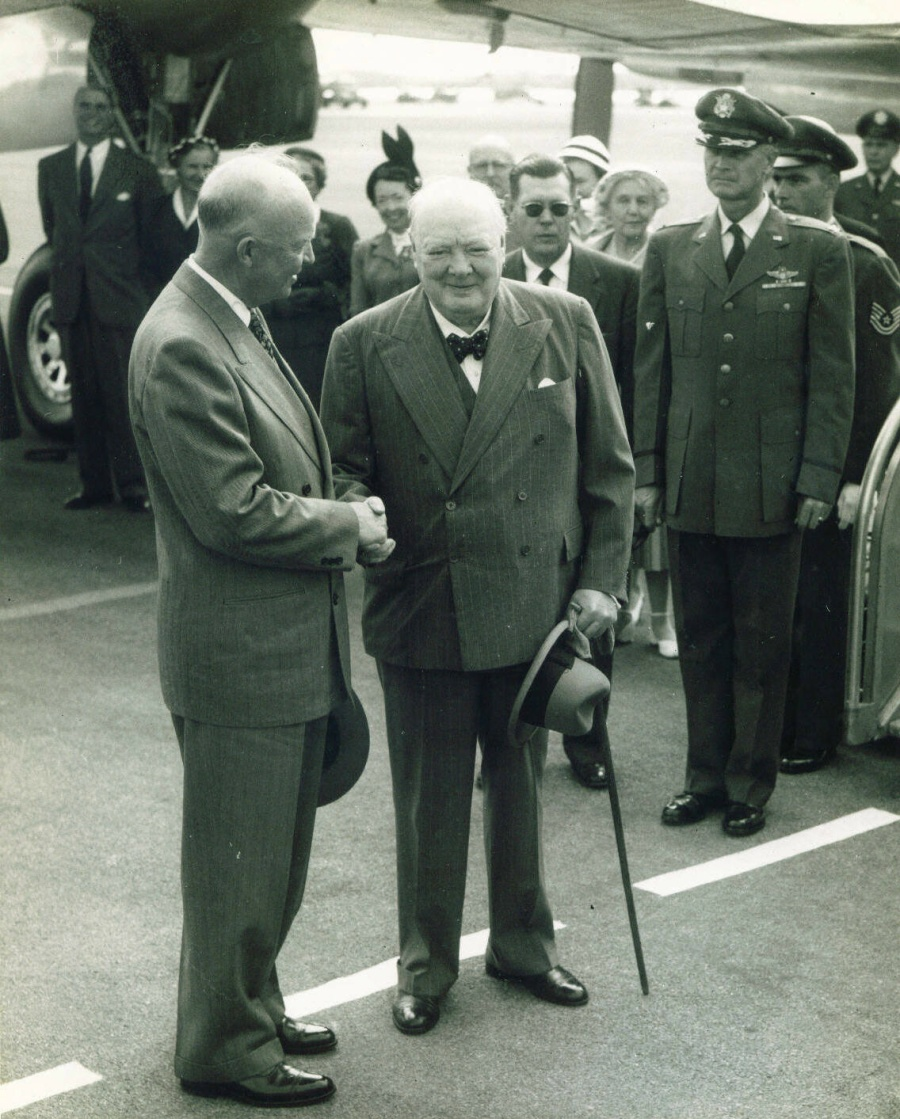 Churchill greeting Eisenhower at USA's Kindley Air Force Base, Bermuda