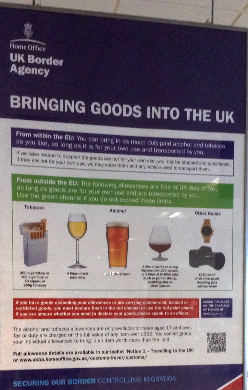 duty free allowance from spain into uk