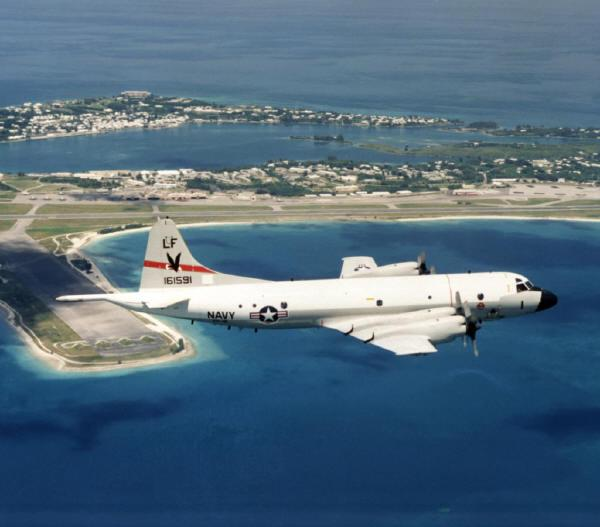 US Navy P3 Orion flying over the Bermuda US base at Kindley
