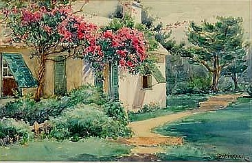 Bicknell's painting of a Bermuda cottage