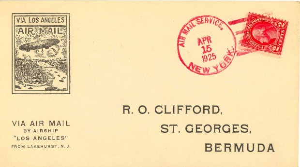 Los Angeles 1925 Bermuda airmail