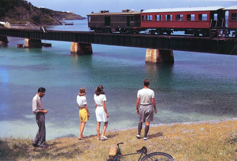 Bermuda railway going over a coastal bridge