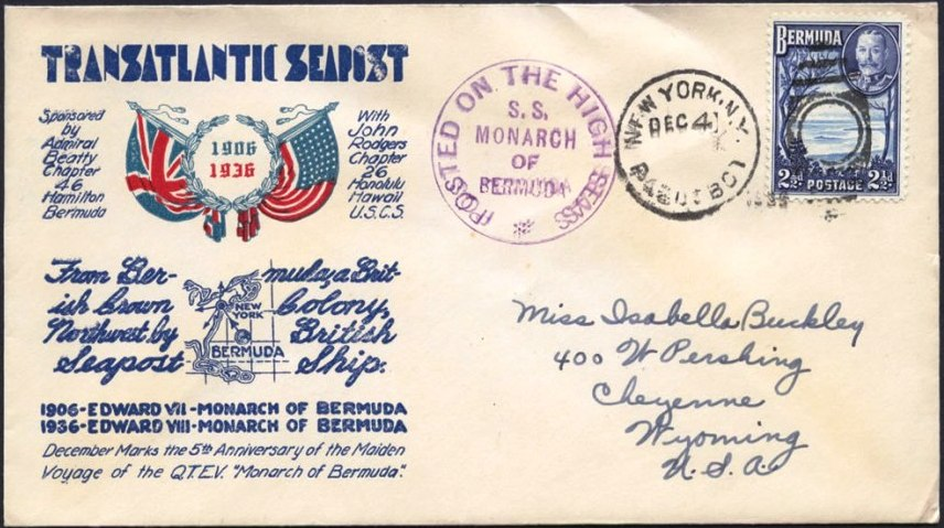 First Day cover of December 4, 1936