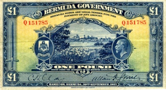 money 1927 Bermuda pound note