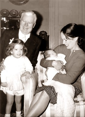 Oona and Charlie Chaplin and two of their children
