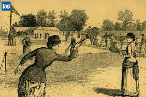 90b59cc8ebd Tennis spread throughout the USA, eventually as a national sport. All those  first tennis rackets were made of laminated wood, with large heads.