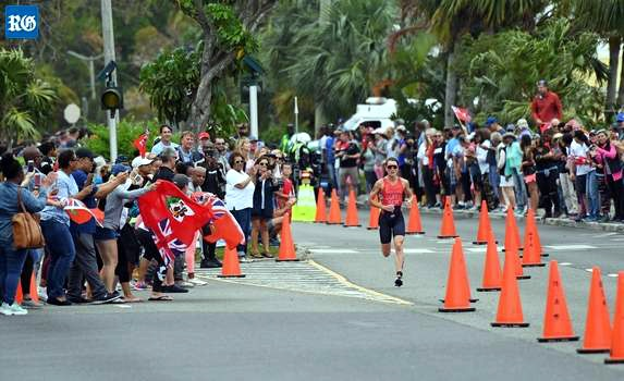 Flora Duffy winning triathlon in Bermuda