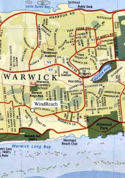 Warwick Parish location map