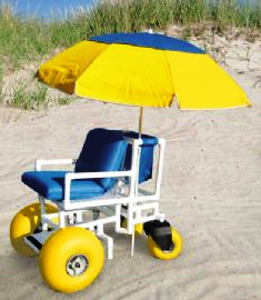 wheelchair beachchair on large and small wheels