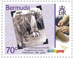 Lord Baden Powell inspecting Cubs in Bermuda 1930