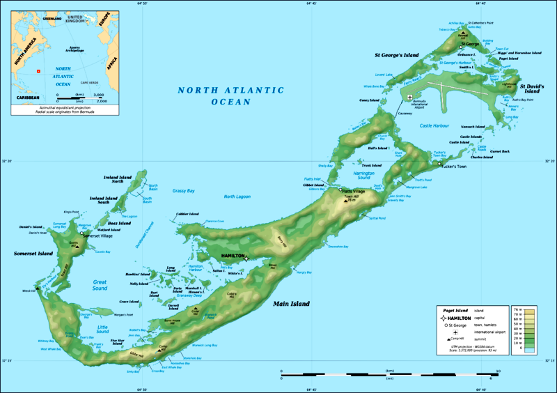 Bermuda topographical map