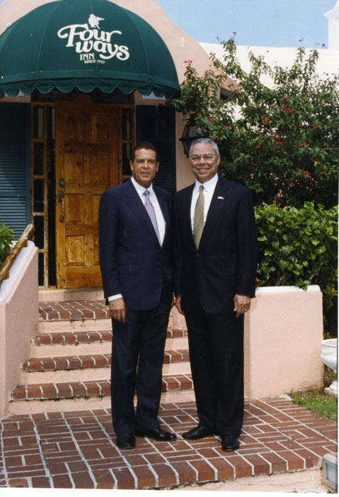 Sir John Swan and Colin Powell in Bermuda